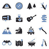 Camping Icons. Two Tone Flat Design. Vector Illustration.