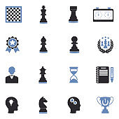 Chess Icons. Two Tone Flat Design. Vector Illustration.