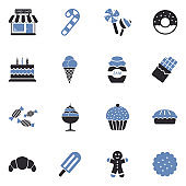 Candy Shop Icons. Two Tone Flat Design. Vector Illustration.