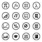 Mathematics Icons. Black Flat Design In Circle. Vector Illustration.