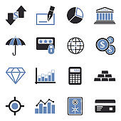 Business And Finance Icons. Set 2. Two Tone Flat Design. Vector Illustration.