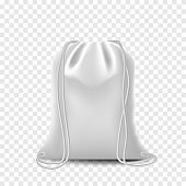 Black Mockup Backpack bag, drawstring isolated on white background. Blank template with bags, realistic vector mockup.