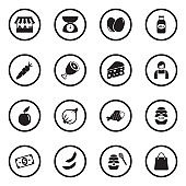 Market Place Icons. Black Flat Design In Circle. Vector Illustration.