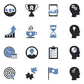Business Productivity Icons. Two Tone Flat Design. Vector Illustration.