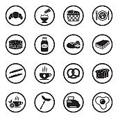 Breakfast Food Icons. Black Flat Design In Circle. Vector Illustration.