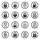Padlock Icons. Black Flat Design In Circle. Vector Illustration.