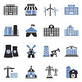 Buildings Icons. Two Tone Flat Design. Vector Illustration.
