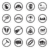 Summer Camp Icons. Black Flat Design In Circle. Vector Illustration.