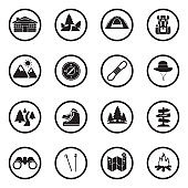 Hiking Icons. Black Flat Design In Circle. Vector Illustration.
