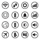 Mobile Phone Icons. Black Flat Design In Circle. Vector Illustration.