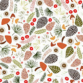 Seamless vector pattern with mushrooms, cones, needles, and berries. Illustration of a forest clearing. Design for paper and fabric