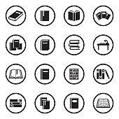 Books Icons. Black Flat Design In Circle. Vector Illustration.
