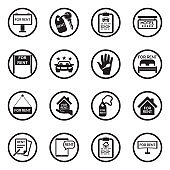 Rental Icons. Black Flat Design In Circle. Vector Illustration.