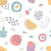 Abstract seamless pattern with hand drawn botanical and geometric shapes. Pastel natural colors.