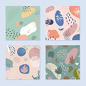 Abstract backgrounds set in trendy style with botanical and geometric elements, textures. Natural earthy colors.
