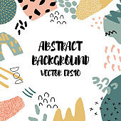 Abstract background in trendy style with botanical and geometric elements, textures. Natural pastel colours.