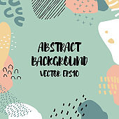 Abstract background in trendy style with botanical and geometric elements, textures. Natural earthy colors.