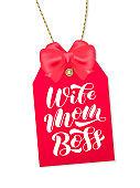 Wife Mom Boss brush lettering. Vector stock illustration for card or poster