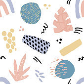 Abstract seamless pattern in trendy style with botanical and geometric elements, textures. Trendy pastel colors.
