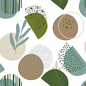 Abstract seamless pattern in trendy style with botanical and geometric elements, textures. Natural earthy colors.