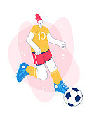 Girl playing football. Trendy flat style. Character design.
