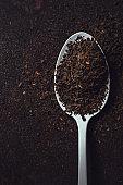 Spoonful of black tea, closeup