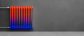 Classic Radiator cold warm colored in front of background