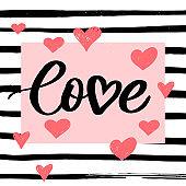 Valentine poster, card, banner letter slogan Vector elements for Valentine's day design elements. Typography Love heart