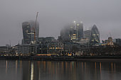 London city financial district cityscape fog