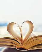 Open book with heart shaped pages.  valentine's day concept. symbol of love