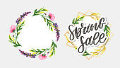Watercolor sale banner background template with beautiful flowers. Element invitation card Decoration. vector art and illustration.