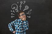 Boy child think idea problem solution decision question answer