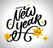 Happy New Year 2021 Beautiful greeting card poster with calligraphy black text word gold fireworks. Hand drawn design elements. Handwritten modern brush lettering white background isolated vector