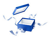 Blue open gift box with ribbon over white background