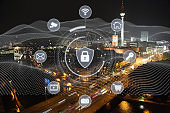 Computer network security cyber connection safety big data protection encryption future technology