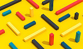 Colourful Shapes Concept Idea on a Yellow Background