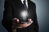 Businessman creative bright idea innovation business leadership