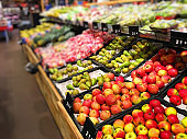 Supermarket shopping grocery vegetables fruits