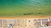 Aerial view at the beach. Beautiful natural seascape at the summer time.