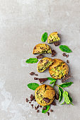 Homemade mint and chocolate cookies