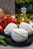 Fresh handmade soft Italian cheese from Campania, white balls of buffalo mozzarella cheese made from cow milk ready to eat
