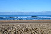 Dutch landscape, North sea sandy beach during low tide near Castricum aan Zee, Netherlands