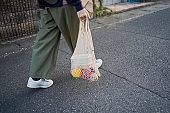 Japanese woman spending days using reusable cotton mesh bags on the streets of Kyoto