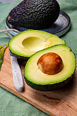Healthy food, fresh ripe hass avocado from Peru