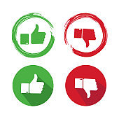Thumbs up thumbs down in different styles- stock vector.