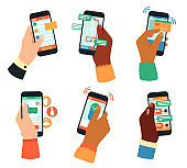 Hands holding smartphones. Social networking, mobile app, or communication concept. Male and female hands with gadgets vector illustrations