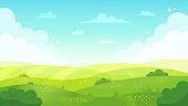 Cartoon meadow landscape. Summer green fields view, spring lawn hill and blue sky, green grass fields landscape vector background illustration