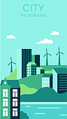 Ecological city background. Urban landscape with high modern buildings and hills. Sustainable energy
