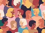 People profiles crowd. Male and female diverse profile portraits, group of young people. Men and women characters group vector illustration
