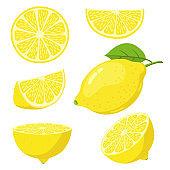 Lemon slices. Citrus fruit slice, juicy yellow lemons, sliced fresh lemons, vitamin c vegetarian ripe citrus fruits vector illustration sets